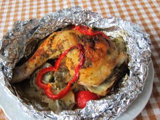 Faszerowane udka z kurczaka w folii