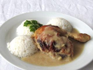 Imbirowy-miodowy kurczak na gruszkach