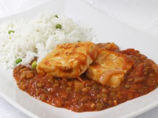 Tofu w soczewicowym sosie
