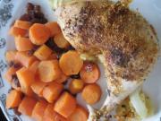 Pieczone udka z kurczaka z marchewką i rodzynkami