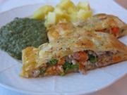 Mięsno-warzywny strudel w cieście francuskim