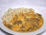 Sos z pieczarkami i serem tofu